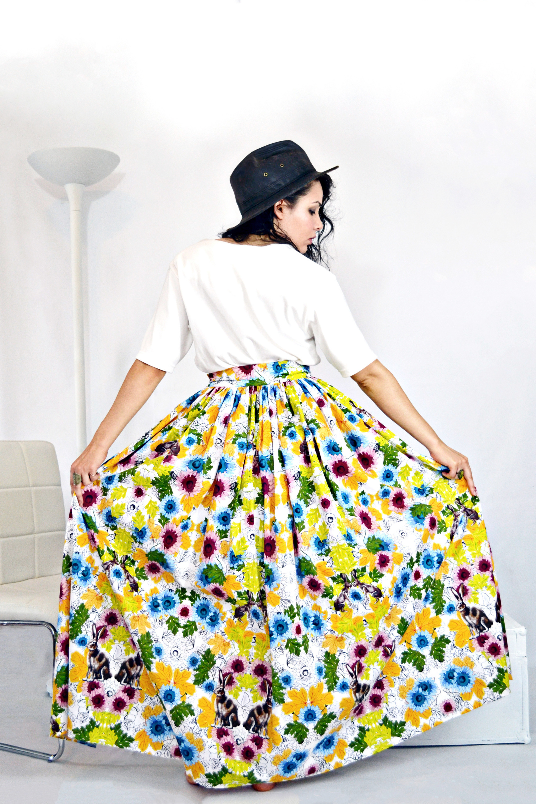 Alicia Skirt- Black and White Floral Print, Eco-Cotton, Eco-print ...